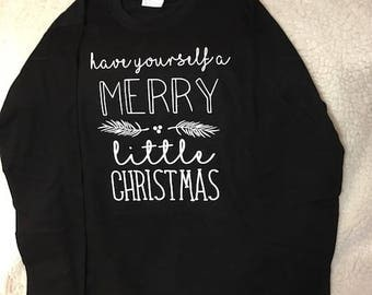 Have Yourself a Merry Little Christmas - Long Sleeve w/ Santa Hat Monogram