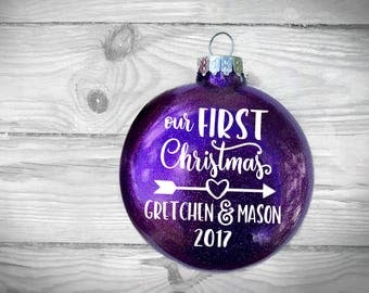 Our First Christmas 2017 Glitter Ornament Personalized with Couples Names   LARGE or Reg   Newlyweds, husband, wife, boyfriend, girlfriend