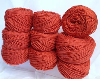 Bundle of Yarn, 9 Pcs Pumpkin Orange Light Worsted Yarn for Crocheting and Knitting and Rug Hooking and Weaving and Pom Pom Making
