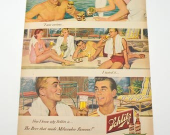 """Vintage Schlitz Beer Ad, Pool Party """"I was Curious"""", Summer Scene, Mobilgas Ad on Other Side, Original Advertising, 1949"""