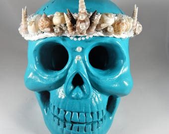 Skull Artwork by Tempie Wade-Mermaid Princess