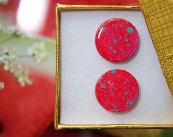 WATERMELON SPLASH acrylic painted handmade stud earrings