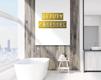 Gold Digital Print, Gold Print, Typography Print, Beauty Obsessed, Glamour Print, Glam Print, Vanity Digital Print, Vanity Wall Art