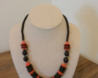 Vintage Black and Red Wood Beaded Necklace