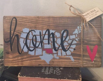 Custom State Sign   Custom Color   Hand Painted   Home Decor