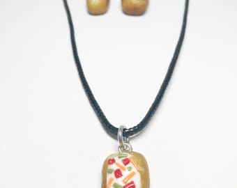 Baked Potato Necklace Earring Set - Dangle - Gift - Birthday - Anniversary - Polymer Clay - Unique - Food Jewelry - Potato