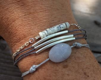 Grey cuff bracelets