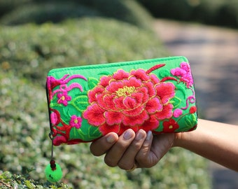 Bright Green Women's Embroidered  Fabric Wallet    Women's Purse   Hmong Ethnic Wallet   Bohemian Wallet   Boho Purse   Gift for Her