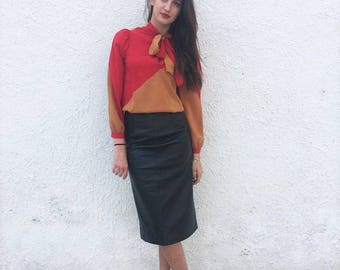 Winter leather skirt / Pencil 80s leather skirt / Midi pencil leather skirt / Small green leather 80s skirt