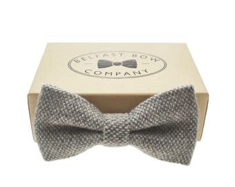Handmade Tweed Bow Tie in Grey - Adult & Junior sizes available