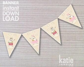 banner - birthday banner - kids party banner - printable banner - superdog - ballerina - instant banner