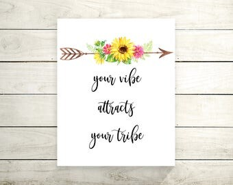 Your Vibe Attracts Your Tribe Canvas Print - Canvas Art Print - Quote Print - Canvas Wall Art- Christmas Gift - Quote Canvas- Gallery Canvas