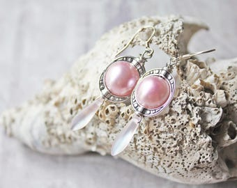 Assemblage Earrings, Assemblage Jewelry, Feminine Jewelry, Romantic Jewelry, Pink Earrings, Beaded Earrings, OOAK Earrings, Boho Jewelry