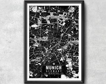 MUNICH Germany Map with Coordinates, Munich Wall Art, Munich Map, Map Art, Map Print, Munich Print, Munich Art, Wall Art, Map Wall Art, Art