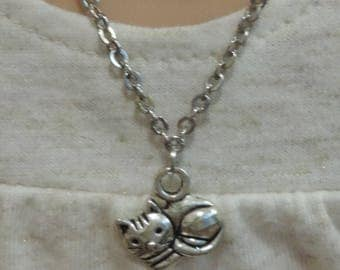 Silver Kitty Cat Necklace for American Girl Doll and other 18 inch dolls