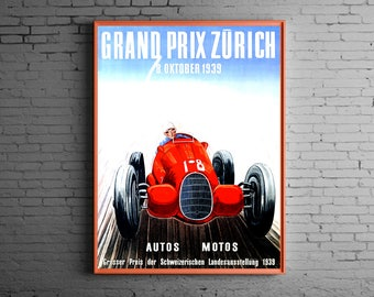 1939 Zurich Grand Prix ( Vintage racing print )