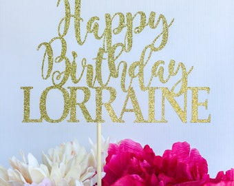 Script happy birthday cake topper | Glitter cake topper | Birthday cake topper | Name cake topper | Custom birthday cake topper