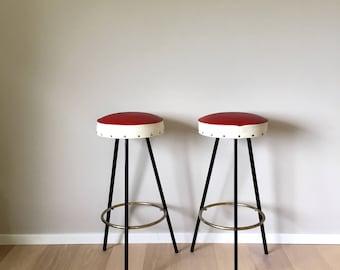 Mid century Barstool pair, 50s barstool, vintage stool, rockabilly metal stool, Vintageinterior