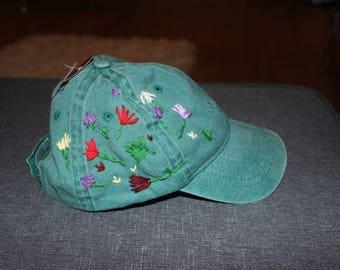Green Embroidered baseball cap