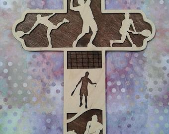 Men's Tennis Cross, Boy's Tennis Gift, Tennis Player Cross