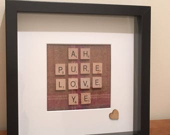 Picture Frame Ah Pure Love Ye, Glaswegian term on endearment, Scrabble Words, Tweed Picture, Tartan Picture Frame, Valentine, Engagement gif