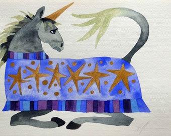 Whimsical art, original art, unicorn art, whimsical animal art, watercolor painting, one of a kind art, unicorn gift, kids room art, art