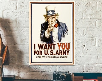 Vintage war propaganda poster - Uncle Sam pointing, with the text: I want you for U.S. army - WWII - wall art poster - old war poster
