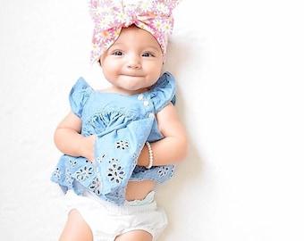 PINK DAISY LOVE Gorgeous Wrap- headwrap; fabric head wrap; floral head wrap; boho; newborn headband; baby headband; toddler headband