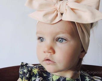 LIGHT PEACH Gorgeous Wrap- headwrap; fabric head wrap; peach head wrap; boho; newborn headband; baby headband; toddler headband