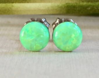 SALE 10% OFF - green opal 6mm stud earrings with titanium posts - spring bud opal - synthetic opal - titanium studs - green opal studs - 6mm