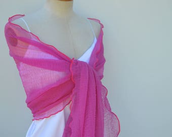Raspberry Raspberry embossed tulle, raspberry women, cache shoulder scarf stole