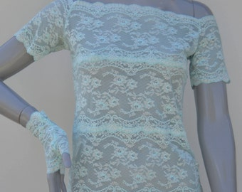 Lace top sky blue, short sleeve top, lace boat neck top sky blue, blue discovery shoulder lace top, sky blue top chic