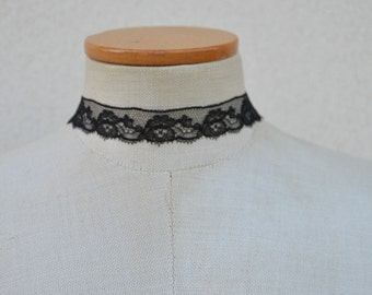 Black Lace Choker, necklace, evening lace Choker necklace black sexy black, Gothic black necklace, black embroidered evening necklace, black