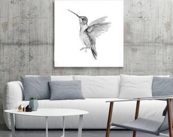 Hummingbird Art - hummingbird decor - print set - black gray bird - hummingbird illustration -  wall art bird decor - flying hummingbird