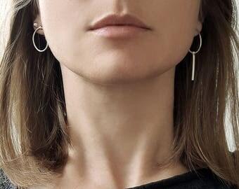 Silver circle studs, asymmetrical earrings, bar earrings, silver circle earrings, geometric earrings, designer earrings, mismatch earrings