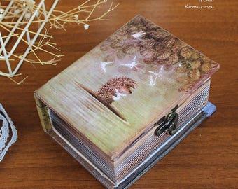 Hedgehog in the Fog, wooden book box, trinket, home decor, decoupage