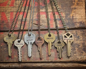 Key Necklace | MANY FONTS & CHAINS | Hand Stamped Vintage Personalized Repurposed Upcycled Inspirational Giving Boho Personalized Gift