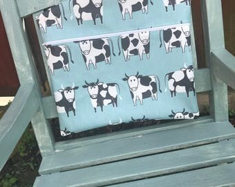 Peg Bag, Cow Design Peg Bag, Zip Peg Bag, Oil Cloth