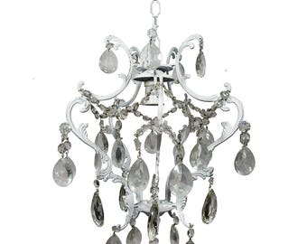 Antique Chandelier Vintage Chandelier White Chandelier Shabby Chic Light Crystal Chandelier White ceiling light Shabby Chic Decor
