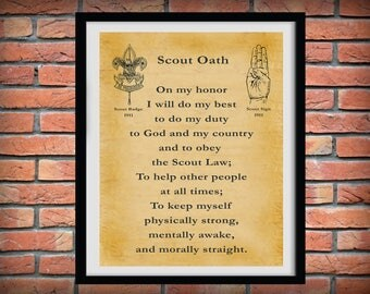 1911 Boy Scout Oath - Boy Scouts of America - BSA - Eagle Scout - Cub Scout - Be Prepared - Troop Leader Gift