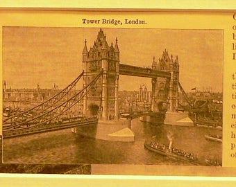 1885 London Tower Bridge Matted Antique Print