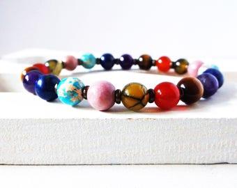 7 Chakra mala bracelet. Genuine stone high quality stretch bracelet. Spiritual healing. Chakra balancing. 8mm stones. For men or women