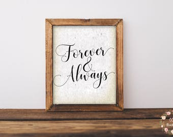 Forever And Always Print, Forever & Always Printable, Love Sign, Wedding Print, Wedding Sign, Wedding Printable, Anniversary Print, Antique