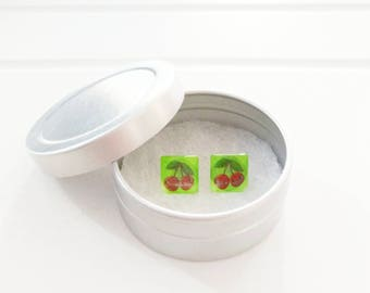 CLEARANCE! Cherry earring, small square glass handpainted lime green
