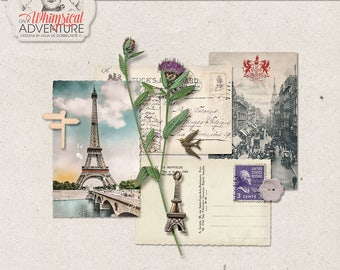 Travel Mix, Outdoor, Digital Scrapbooking Embellishments, Commercial Use OK, Instant Download, Wildflower, Eiffel Tower, Vintage Postcards