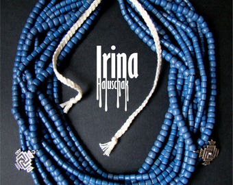 Ukrainian folk multistrand necklace. Ceramics necklace. Blue ukrainian style necklace. Necklace with crosses. Zgarda necklace. Ukrainian