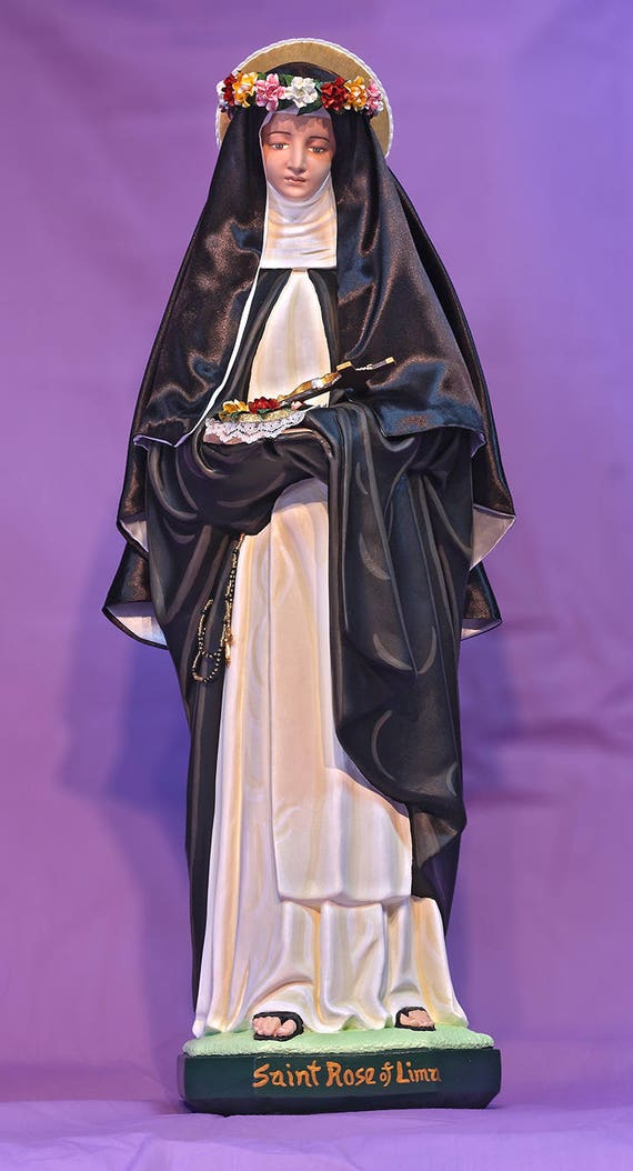 "St. Rose of Lima 26"" Catholic Christian Saints Plaster Religious Statue"