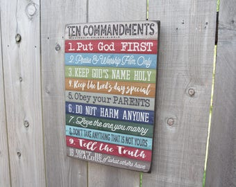 Ten Commandments - 10 Commandments Sign - Exodus 20:3-17 - Bible Verse Sign - Home Decor - Christian Decor - Scripture - Tessie Made Decor