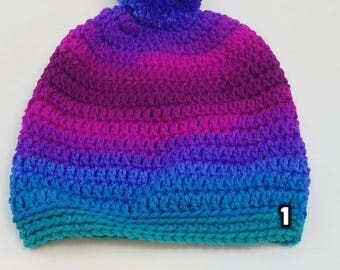Crochet Rainbow Slouchy Beanies