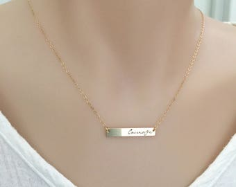 Courage Necklace, Motivational Necklace, Bar Necklace in Silver, Gold and Rose Gold, Strength Necklace, Graduation Gift, Gift for Sister